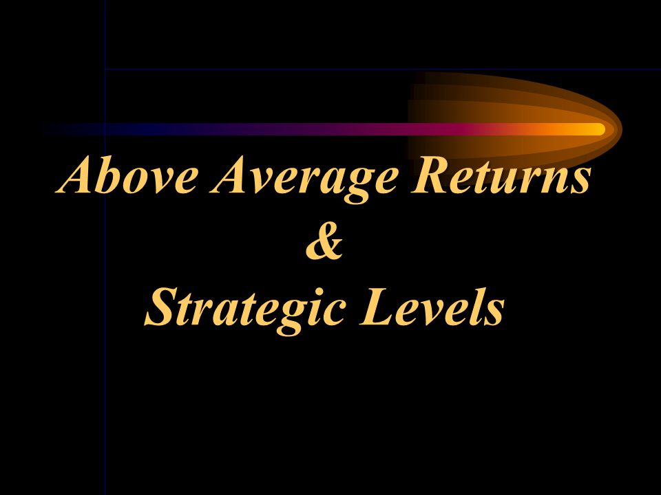 Recurrent Above Average Returns are earned only by firms that haveACHIEVED andSUSTAINED a competitive advantage for an extended period of time. Rememb