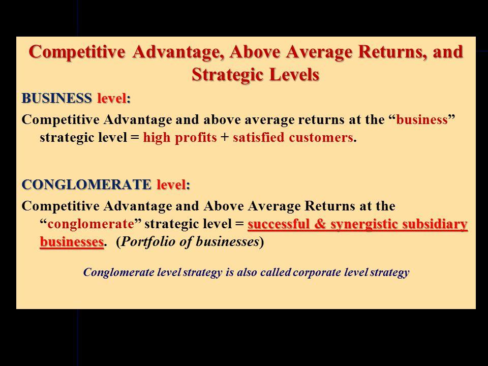 Above Average Returns & Strategic Levels