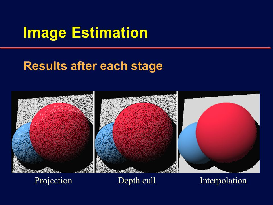 Image Estimation Problem: visual artifacts Simple filter can remove many artifacts Need new points from renderer Previously invisible areas Color changes due to non-diffuse shading - Eg,specular highlights Changes due to user editing - Changes in lighting, geometry, materials