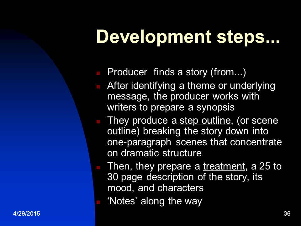 4/29/201535 Development Who can pitch, to whom do you pitch, optioning a script / step deal The script is written and drafted into a workable blueprint for a film Decisions made about stars ('packaging') and initial casting, location, budgets Who is calling the shots?