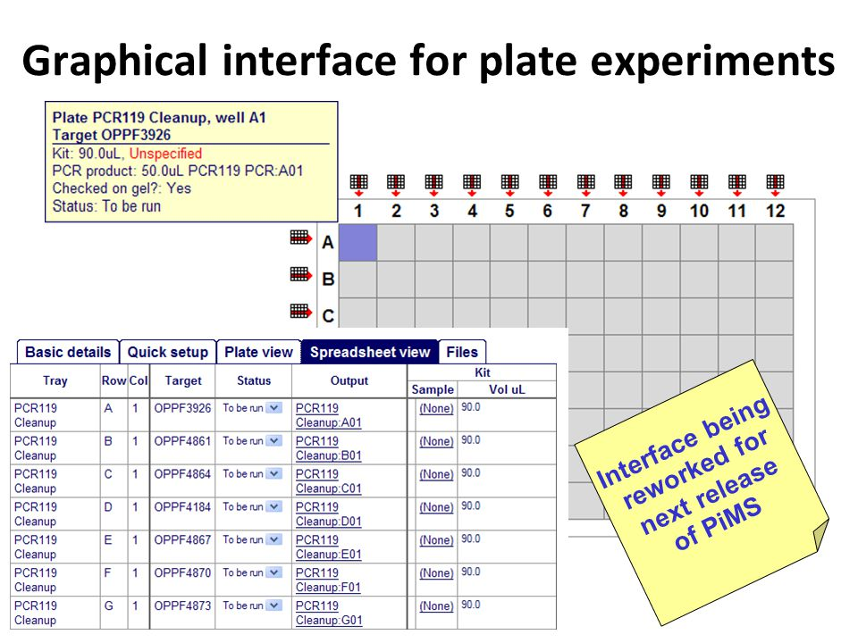 Interface being reworked for next release of PiMS Graphical interface for plate experiments