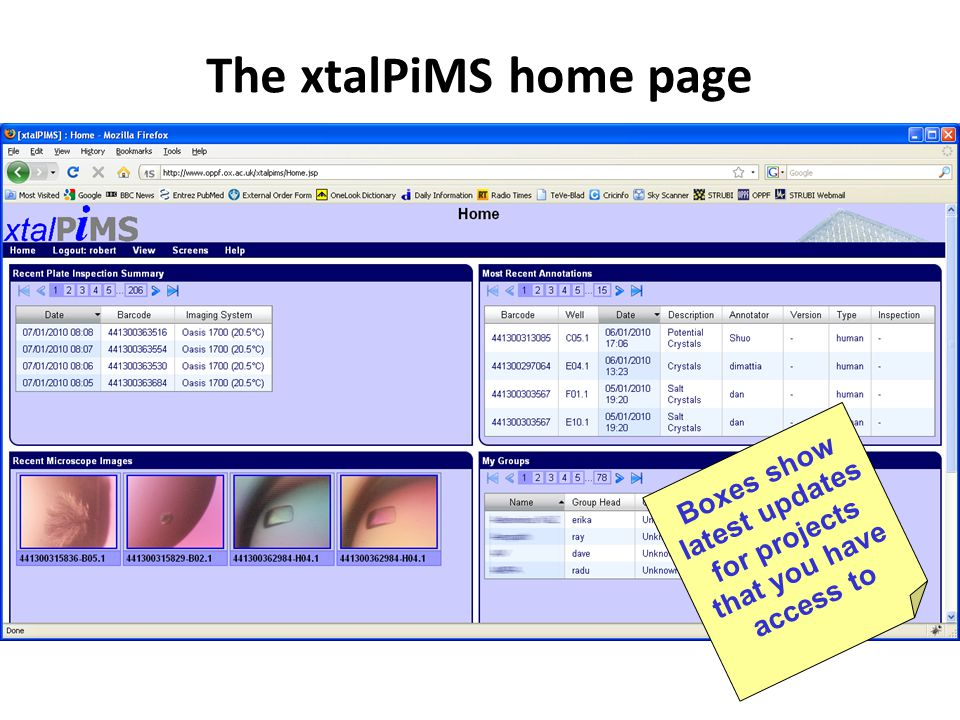 Boxes show latest updates for projects that you have access to The xtalPiMS home page