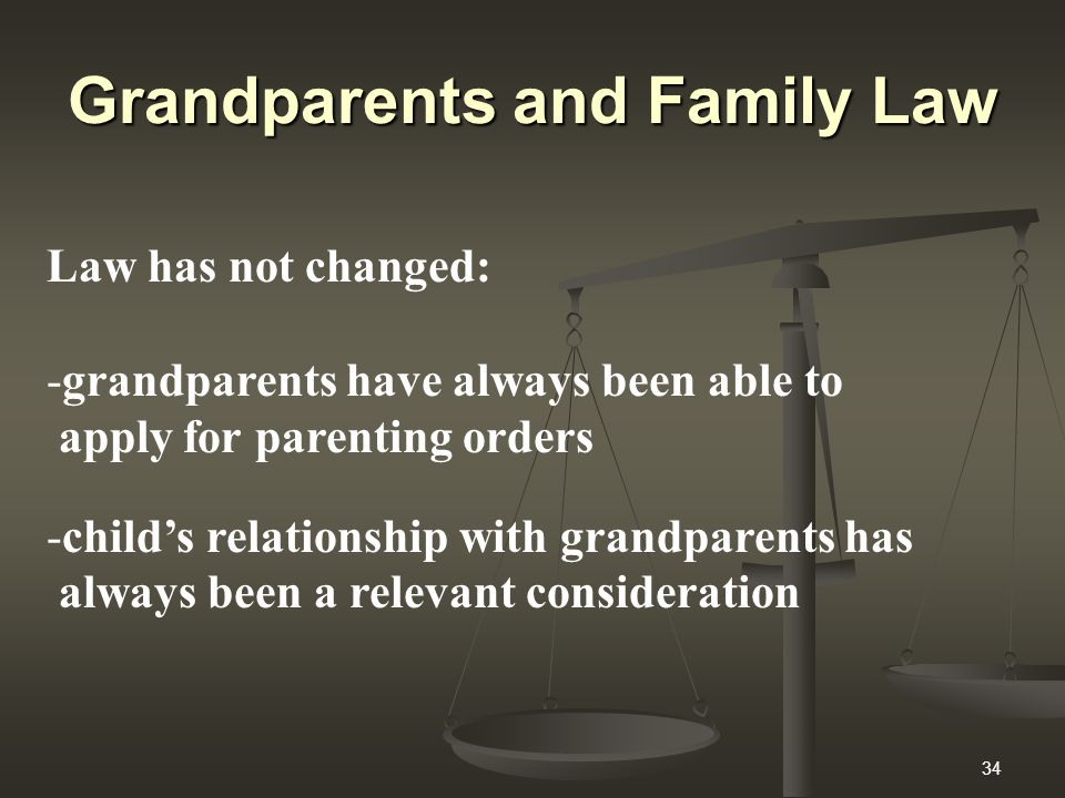 34 Grandparents and Family Law Law has not changed: -grandparents have always been able to apply for parenting orders -child's relationship with grandparents has always been a relevant consideration