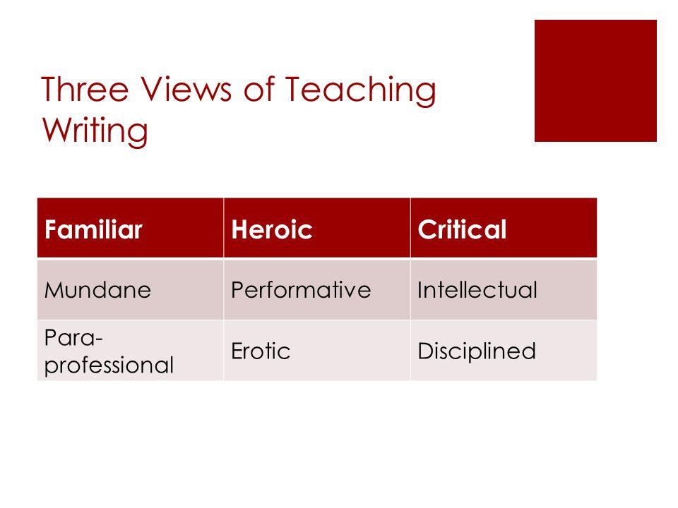 Three Views of Teaching Writing FamiliarHeroicCritical MundanePerformativeIntellectual Para- professional EroticDisciplined