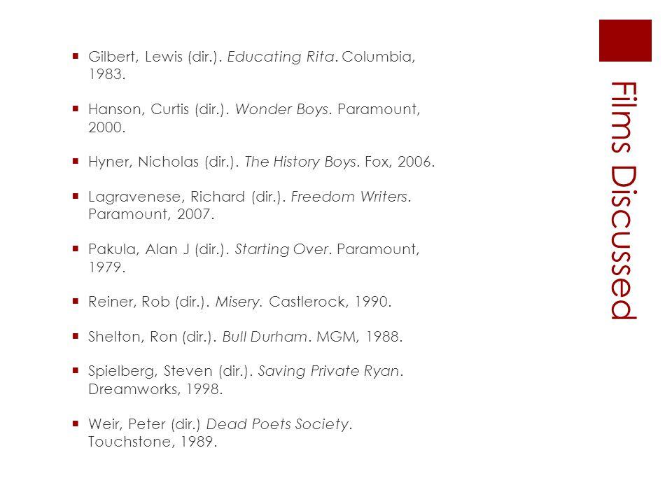 Films Discussed  Gilbert, Lewis (dir.). Educating Rita. Columbia, 1983.  Hanson, Curtis (dir.). Wonder Boys. Paramount, 2000.  Hyner, Nicholas (dir