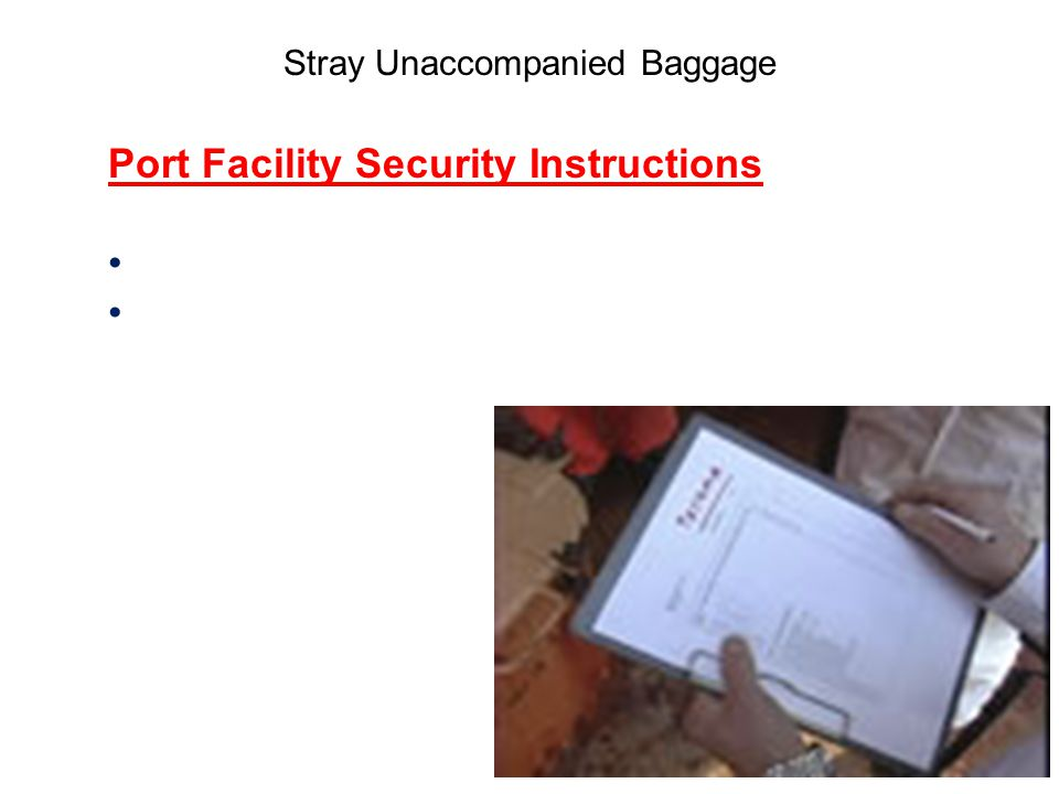 Stray Unaccompanied Baggage Port Facility Security Instructions