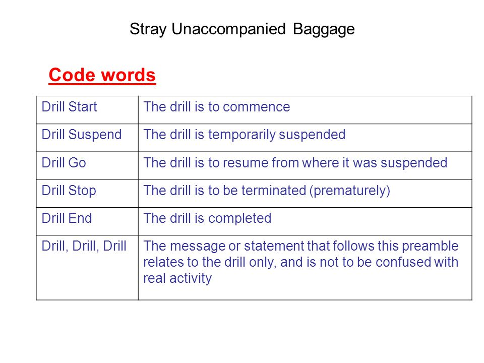 Stray Unaccompanied Baggage Drill StartThe drill is to commence Drill SuspendThe drill is temporarily suspended Drill GoThe drill is to resume from where it was suspended Drill StopThe drill is to be terminated (prematurely) Drill EndThe drill is completed Drill, Drill, DrillThe message or statement that follows this preamble relates to the drill only, and is not to be confused with real activity Code words