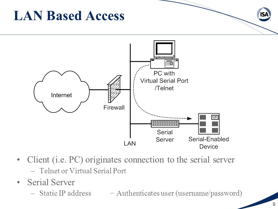9 LAN Based Access Client (i.e. PC) originates connection to the serial server –Telnet or Virtual Serial Port Serial Server –Static IP address − Authe