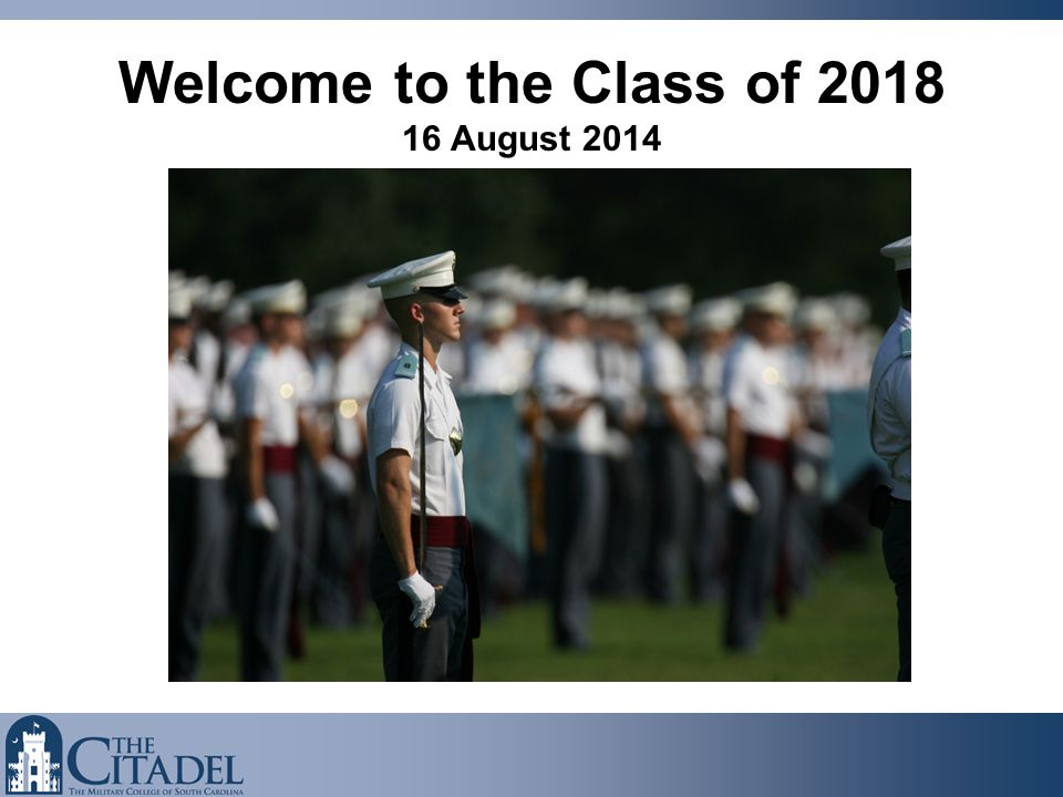 Welcome to the Class of 2018 16 August 2014