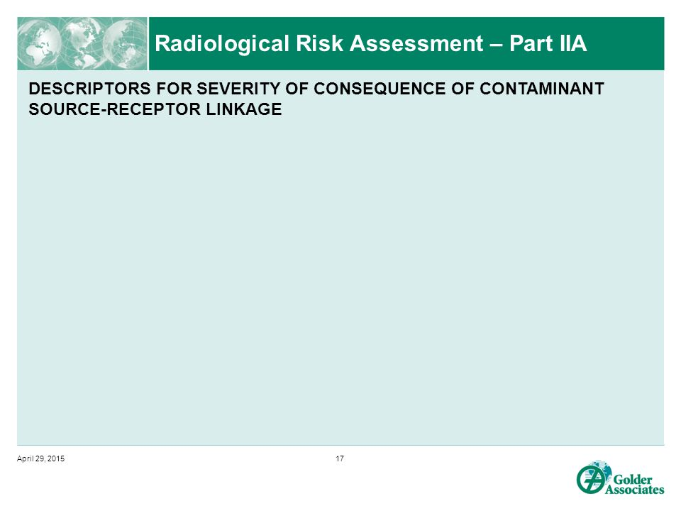 Radiological Risk Assessment – Part IIA April 29, 201517 DESCRIPTORS FOR SEVERITY OF CONSEQUENCE OF CONTAMINANT SOURCE-RECEPTOR LINKAGE