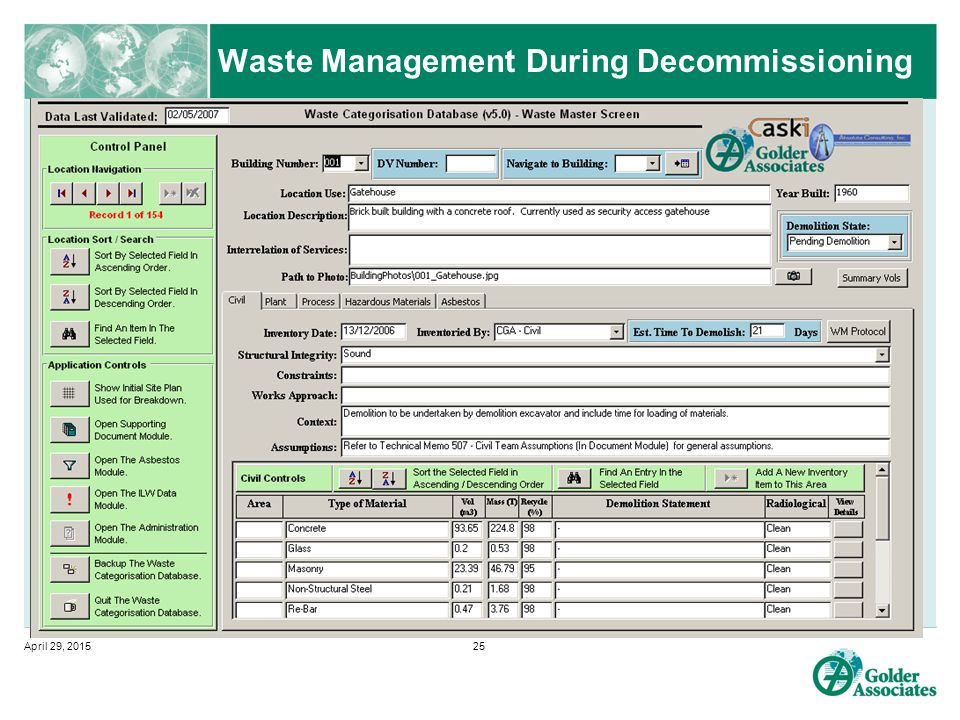 Waste Management During Decommissioning April 29, 201525