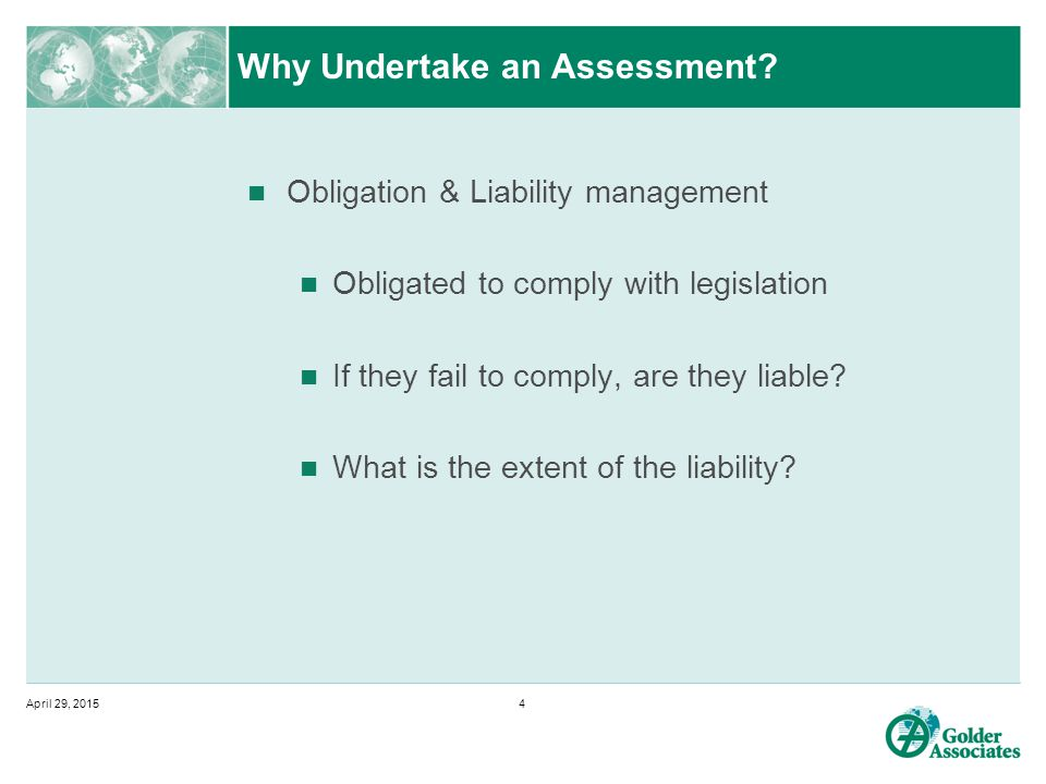 Why Undertake an Assessment.