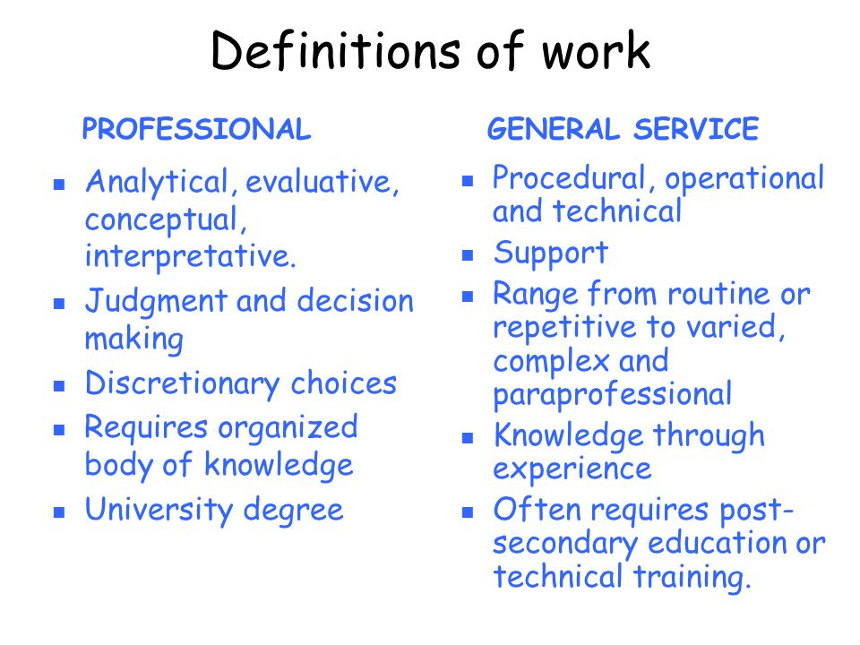 Definitions of work Procedural, operational and technical Support Range from routine or repetitive to varied, complex and paraprofessional Knowledge t