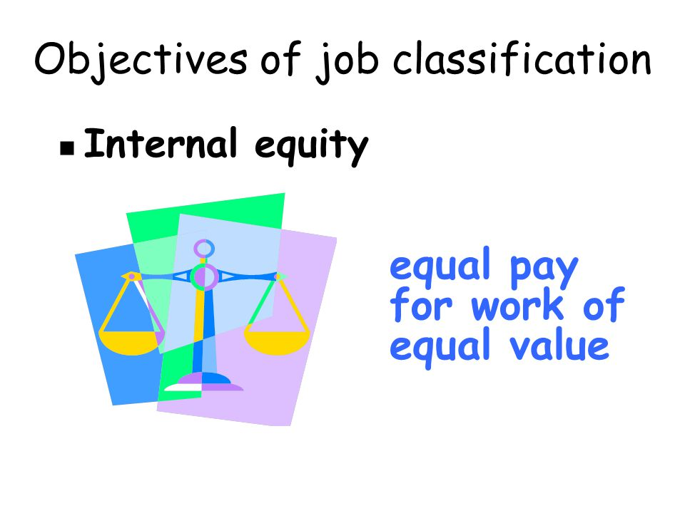 Objectives of job classification Internal equity equal pay for work of equal value