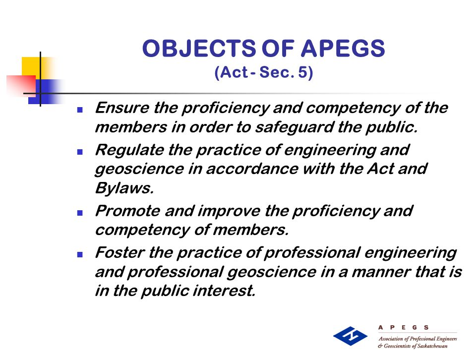 OBJECTS OF APEGS (Act - Sec.
