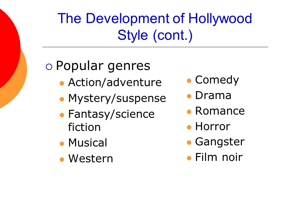 The Development of Hollywood Style (cont.)  Popular genres Action/adventure Mystery/suspense Fantasy/science fiction Musical Western Comedy Drama Romance Horror Gangster Film noir