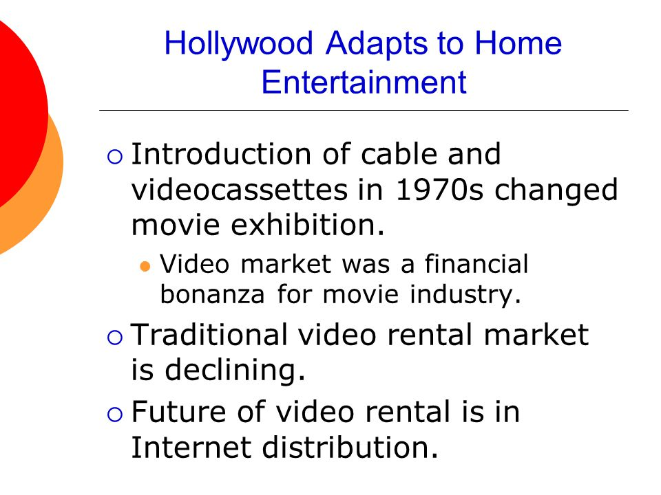 Hollywood Adapts to Home Entertainment  Introduction of cable and videocassettes in 1970s changed movie exhibition.