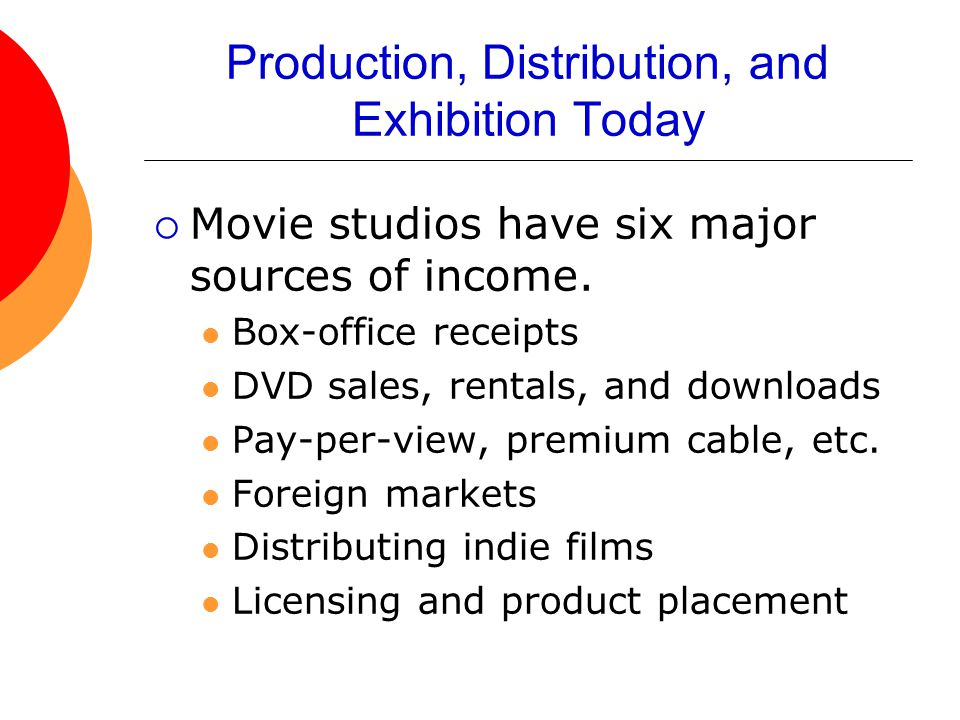 Production, Distribution, and Exhibition Today  Movie studios have six major sources of income.