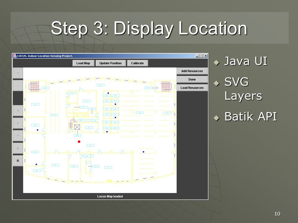 10 Step 3: Display Location  Java UI  SVG Layers  Batik API