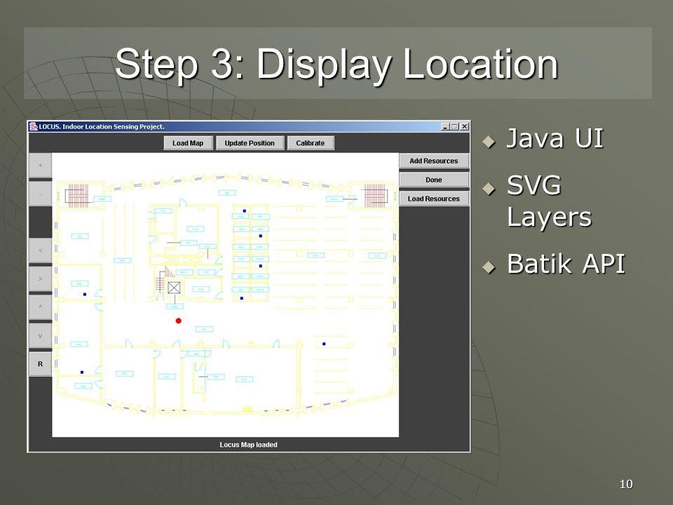 10 Step 3: Display Location  Java UI  SVG Layers  Batik API