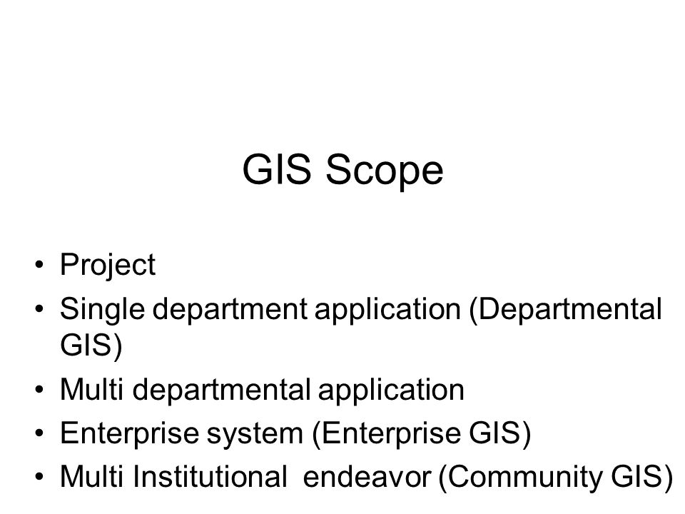 Institutional Environment –Expected result is a product –Project has an end date –Costs paid by project –No long-term support expected & no commitment to GIS –little or no organizational impact GIS Implementation Approach –One-time effort –need best tool for the job –consultant or contractor may do entire thing Benefit –product produced on-time & within budget highway feasibility study completed rail line corridor study complete Level I: Project