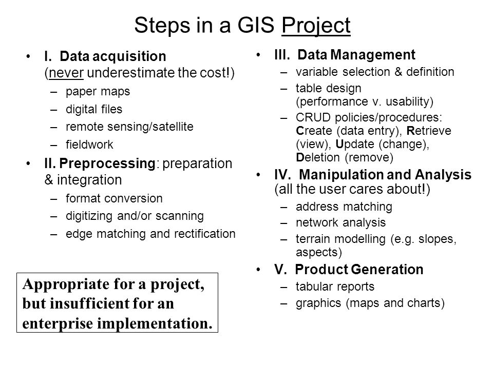 Steps in a GIS Project I. Data acquisition (never underestimate the cost!) –paper maps –digital files –remote sensing/satellite –fieldwork II. Preproc