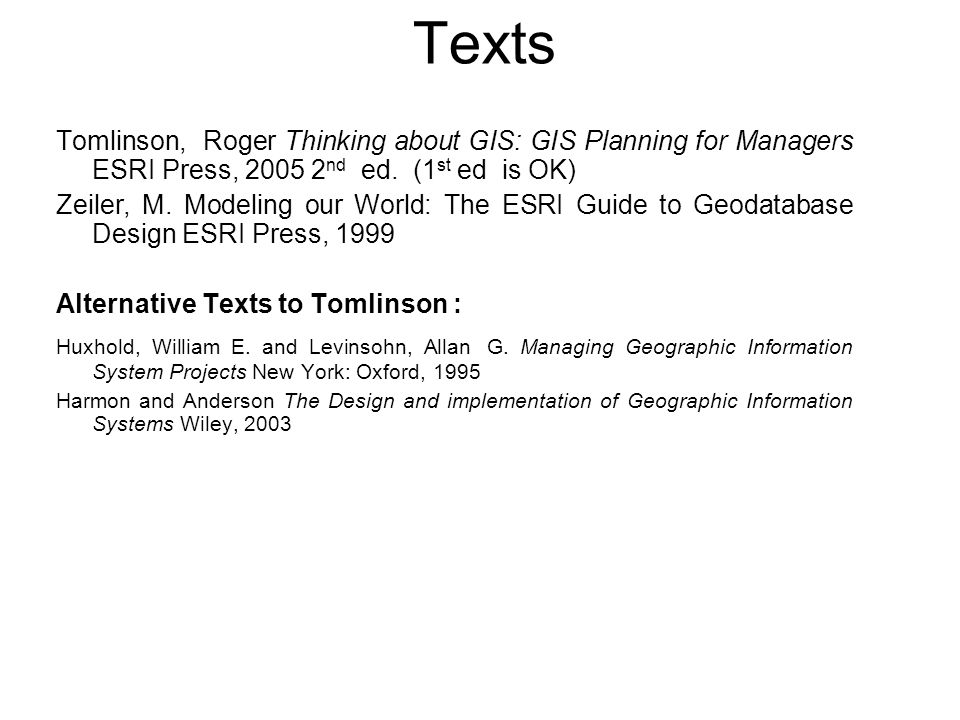 Texts Tomlinson, Roger Thinking about GIS: GIS Planning for Managers ESRI Press, 2005 2 nd ed. (1 st ed is OK) Zeiler, M. Modeling our World: The ESRI