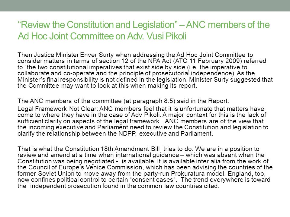 Review the Constitution and Legislation – ANC members of the Ad Hoc Joint Committee on Adv.