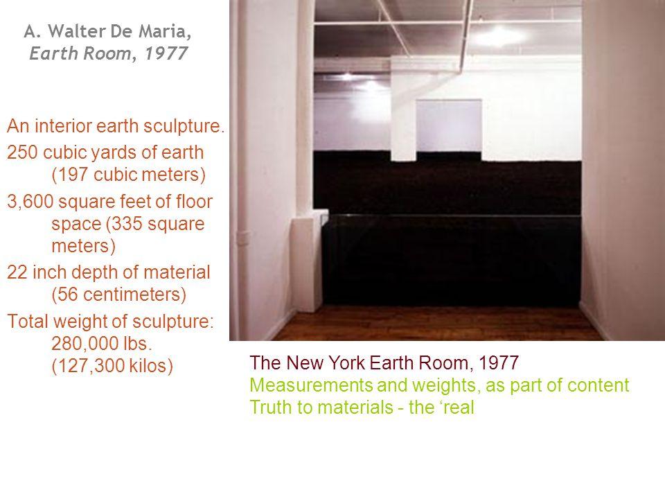 A.Walter De Maria, Earth Room, 1977 An interior earth sculpture.