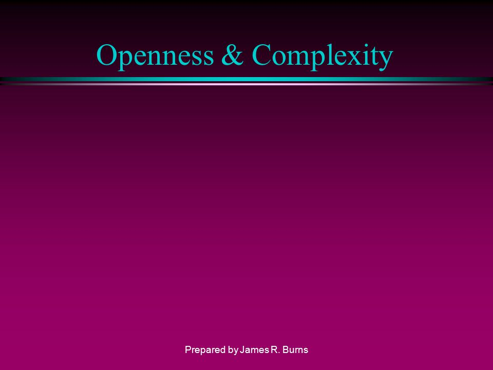 Openness & Complexity Prepared by James R. Burns