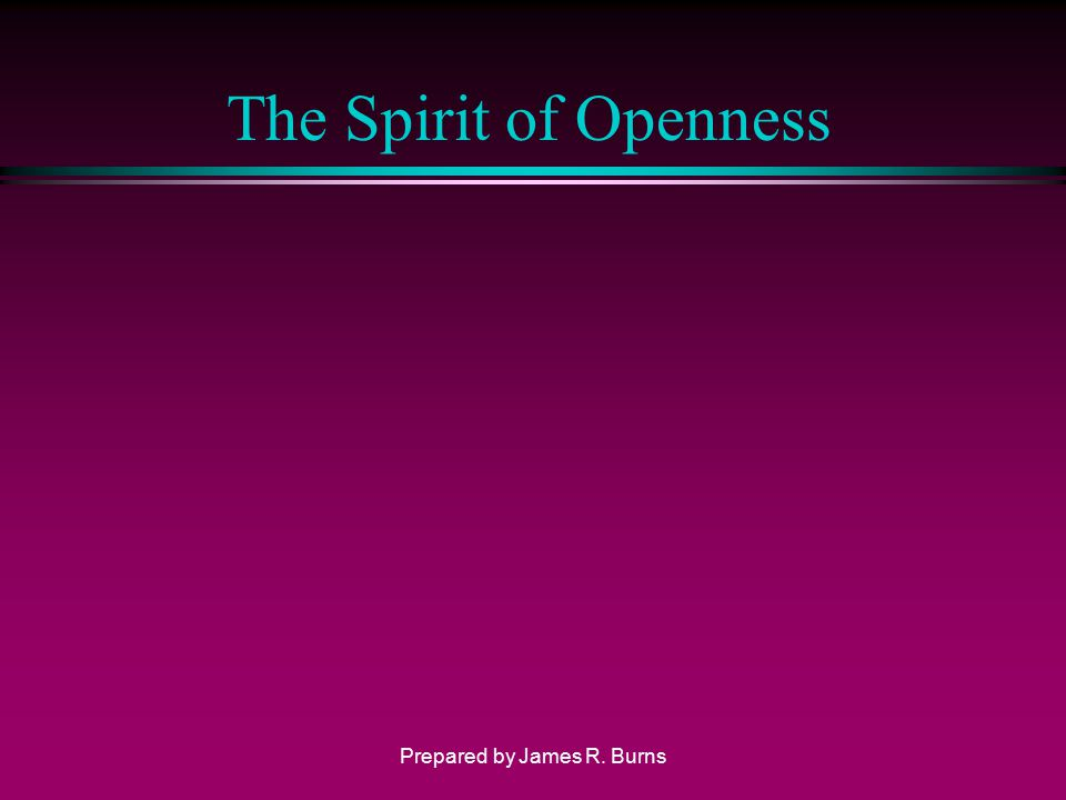 The Spirit of Openness Prepared by James R. Burns