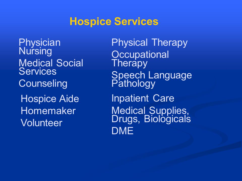 Hospice Services Physician Nursing Medical Social Services Counseling Physical Therapy Occupational Therapy Speech Language Pathology Hospice Aide Homemaker Volunteer Inpatient Care Medical Supplies, Drugs, Biologicals DME
