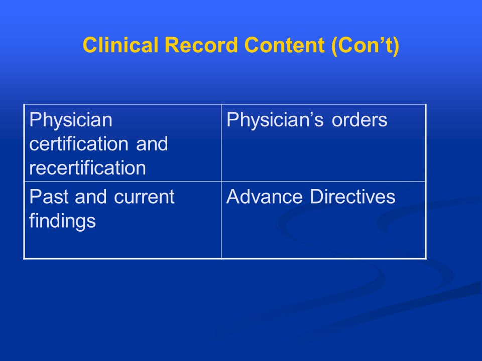 Clinical Record Content (Con't) Physician certification and recertification Physician's orders Past and current findings Advance Directives