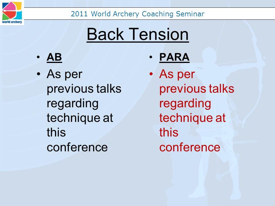 2011 World Archery Coaching Seminar Back Tension AB As per previous talks regarding technique at this conference PARA As per previous talks regarding technique at this conference