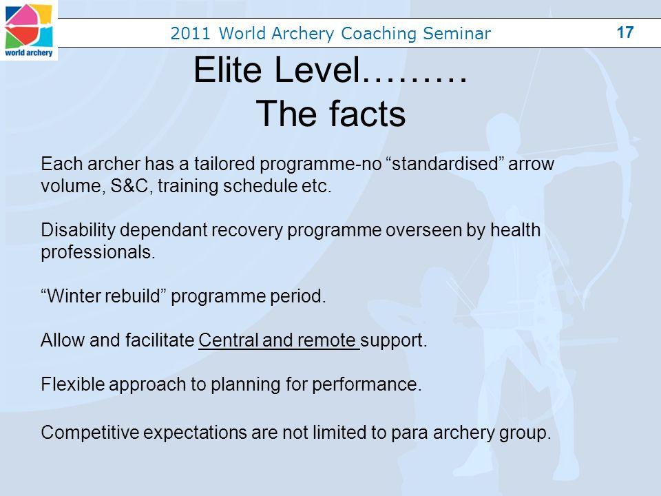2011 World Archery Coaching Seminar 17 Elite Level……… The facts Each archer has a tailored programme-no standardised arrow volume, S&C, training schedule etc.