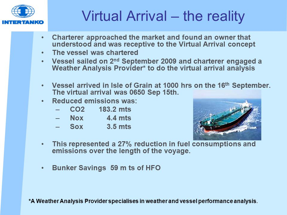 Virtual Arrival – the reality Charterer approached the market and found an owner that understood and was receptive to the Virtual Arrival concept The vessel was chartered Vessel sailed on 2 nd September 2009 and charterer engaged a Weather Analysis Provider* to do the virtual arrival analysis Vessel arrived in Isle of Grain at 1000 hrs on the 16 th September.