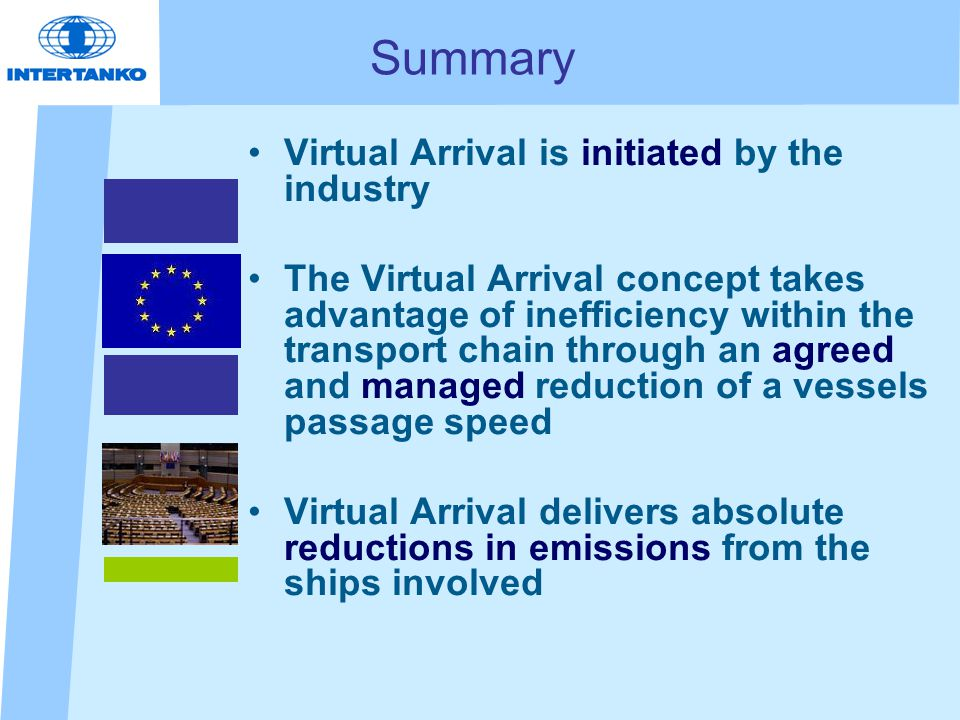 Summary Virtual Arrival is initiated by the industry The Virtual Arrival concept takes advantage of inefficiency within the transport chain through an agreed and managed reduction of a vessels passage speed Virtual Arrival delivers absolute reductions in emissions from the ships involved