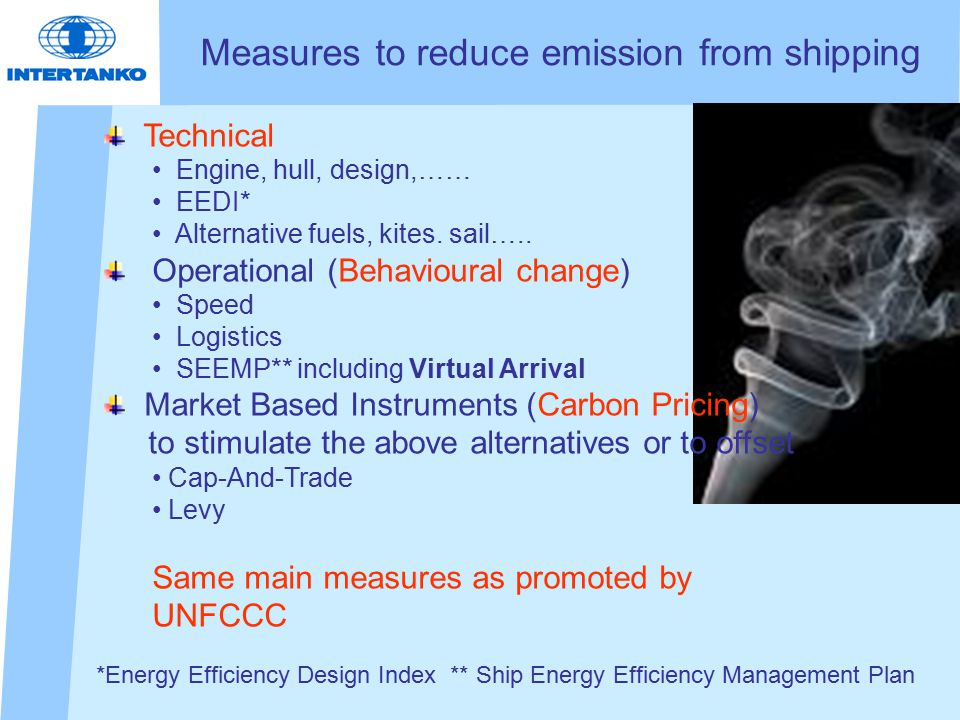 Measures to reduce emission from shipping Technical Engine, hull, design,…… EEDI* Alternative fuels, kites.