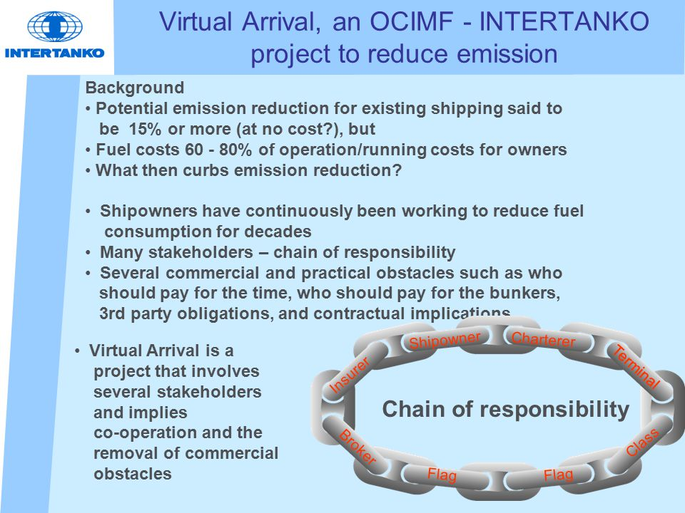 Virtual Arrival, an OCIMF - INTERTANKO project to reduce emission Background Potential emission reduction for existing shipping said to be 15% or more (at no cost ), but Fuel costs 60 - 80% of operation/running costs for owners What then curbs emission reduction.