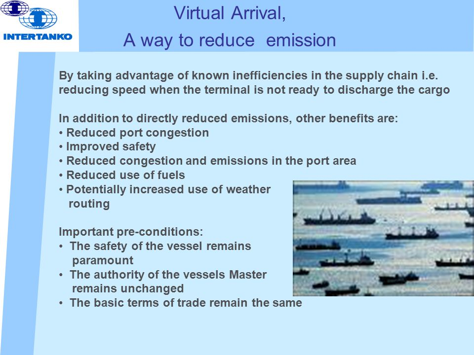 Virtual Arrival, A way to reduce emission By taking advantage of known inefficiencies in the supply chain i.e.
