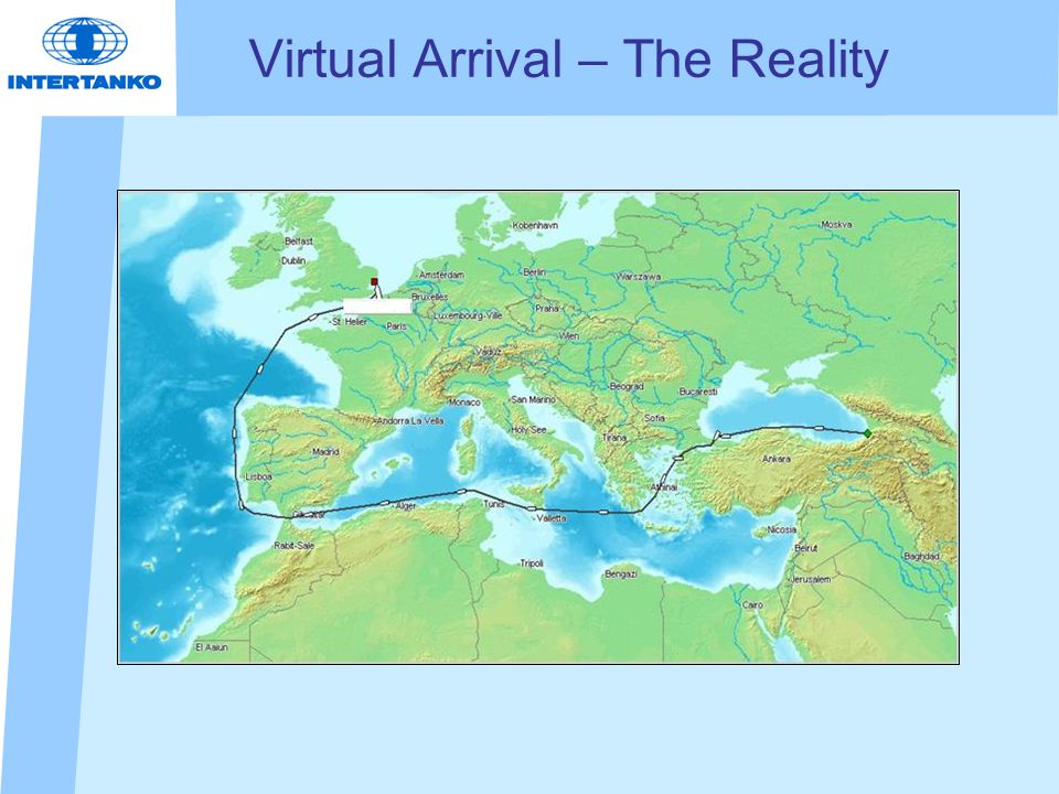 Virtual Arrival The daily report An initial report of the voyage using historic speed and consumption data.
