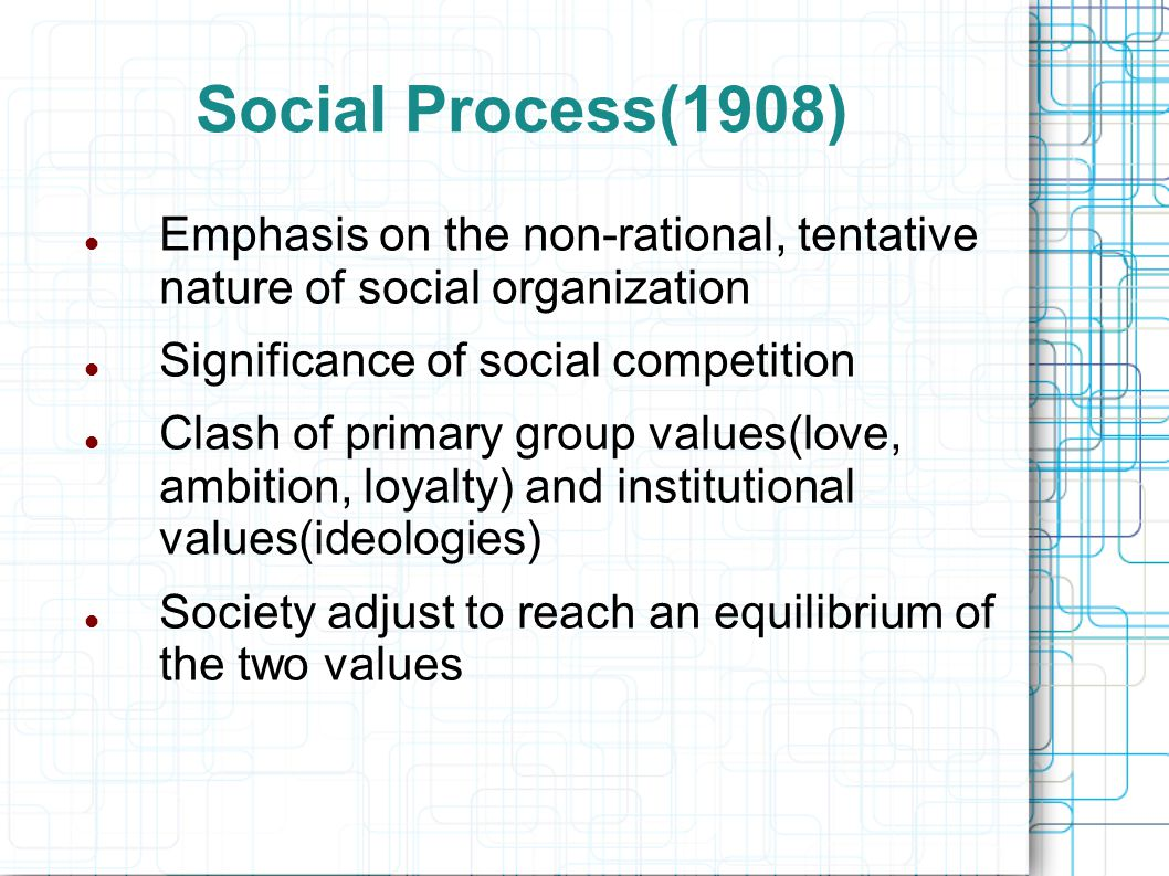 Social Organization(1909) A sociological antidote to Sigmund Freud First formulated the role of primary groups Society was a constant experiment in enlarging social experiences Concluded class differences reflect different contributions to society as well as the phenomena of exploitation