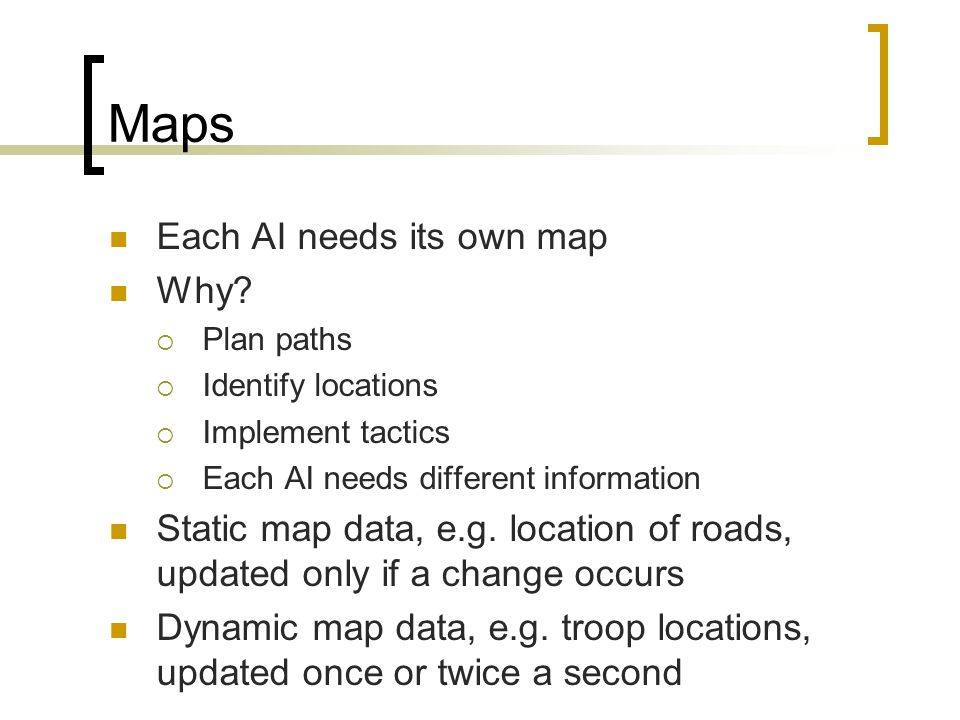 Maps Each AI needs its own map Why.