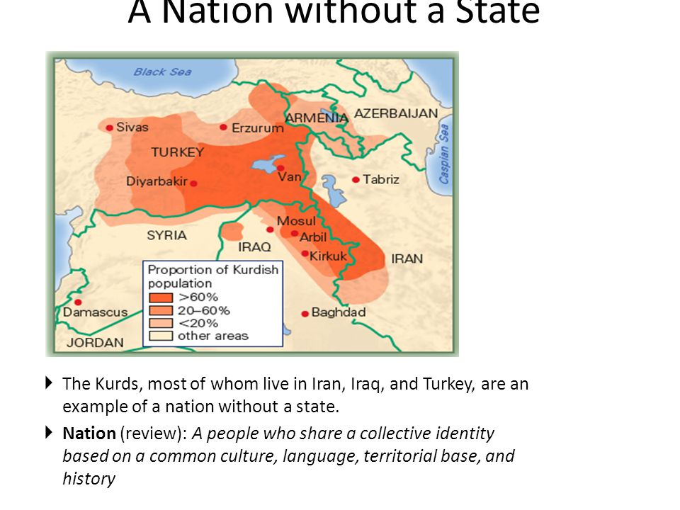 A Nation without a State  The Kurds, most of whom live in Iran, Iraq, and Turkey, are an example of a nation without a state.  Nation (review): A pe