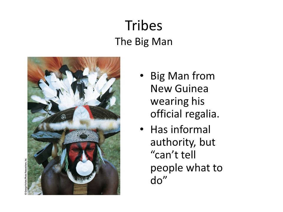 """Tribes The Big Man Big Man from New Guinea wearing his official regalia. Has informal authority, but """"can't tell people what to do"""""""