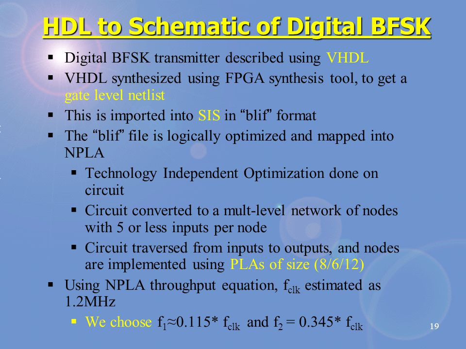 19 HDL to Schematic of Digital BFSK  Digital BFSK transmitter described using VHDL  VHDL synthesized using FPGA synthesis tool, to get a gate level netlist  This is imported into SIS in blif format  The blif file is logically optimized and mapped into NPLA  Technology Independent Optimization done on circuit  Circuit converted to a mult-level network of nodes with 5 or less inputs per node  Circuit traversed from inputs to outputs, and nodes are implemented using PLAs of size (8/6/12)  Using NPLA throughput equation, f clk estimated as 1.2MHz  We choose f 1 ≈0.115* f clk and f 2 = 0.345* f clk