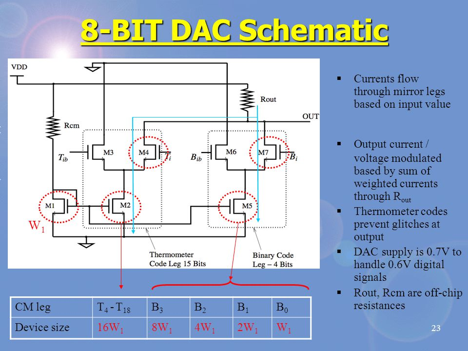 23 8-BIT DAC Schematic CM legT 4 - T 18 B3B3 B2B2 B1B1 B0B0 Device size16W 1 8W 1 4W 1 2W 1 W1W1  Currents flow through mirror legs based on input value W1W1  Output current / voltage modulated based by sum of weighted currents through R out  Thermometer codes prevent glitches at output  DAC supply is 0.7V to handle 0.6V digital signals  Rout, Rcm are off-chip resistances
