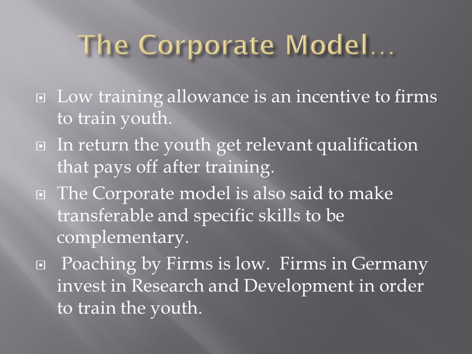  Low training allowance is an incentive to firms to train youth.  In return the youth get relevant qualification that pays off after training.  The