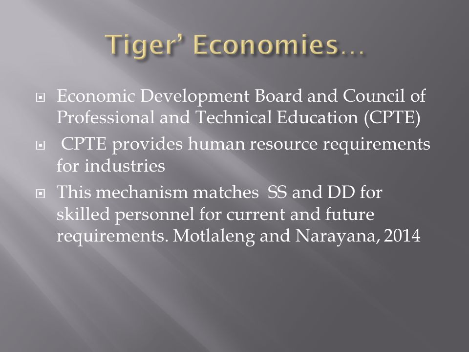  Economic Development Board and Council of Professional and Technical Education (CPTE)  CPTE provides human resource requirements for industries  This mechanism matches SS and DD for skilled personnel for current and future requirements.