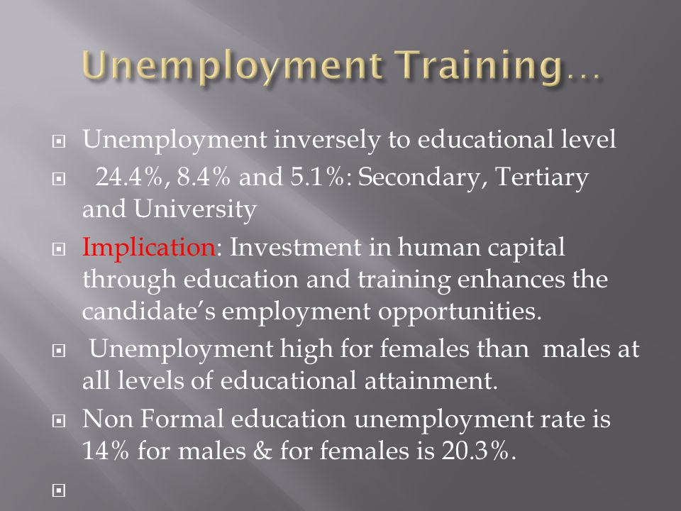  Unemployment inversely to educational level  24.4%, 8.4% and 5.1%: Secondary, Tertiary and University  Implication: Investment in human capital th